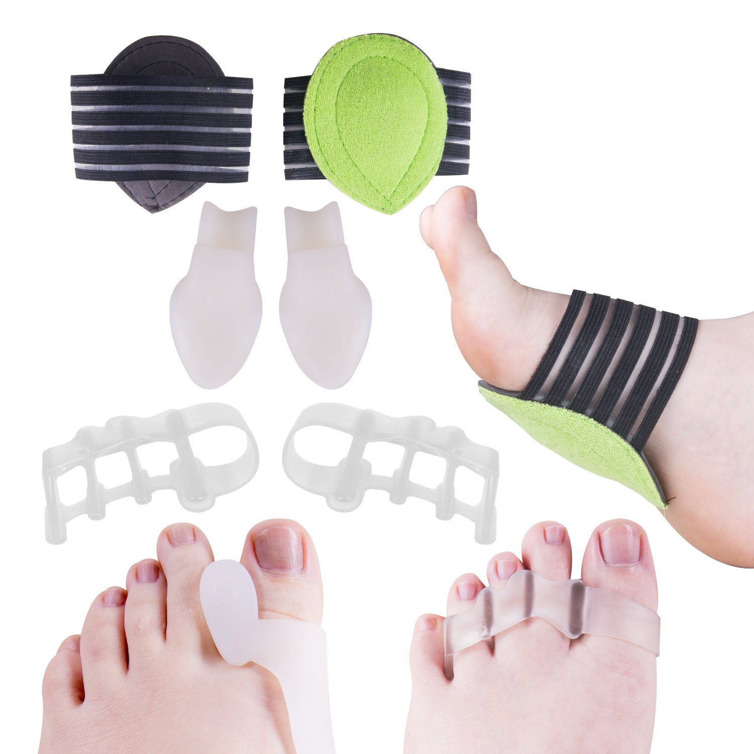 Toe Separators for Bunions Plantar Fasciitis Hammer Toes Yoga Sports By Toe Spacers Pro - Original Gel Toe Stretchers Straightener Spreaders pads - Small Toe Protectors For Men Women - Stop Foot Pain