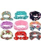 Qandsweet Baby Adjustable Headbands Girls Hair Accessories (Mix 9 Models)