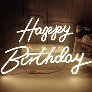 Happy Birthday Neon Lights Signs for Wall Decor, Night Lights for Baby Shower Decorations, Backdrop, Photo Prop, Gender Reveal LED Tube Sign for Decoration Warm White 22.8X7.8 & 16.5X8.3Inches