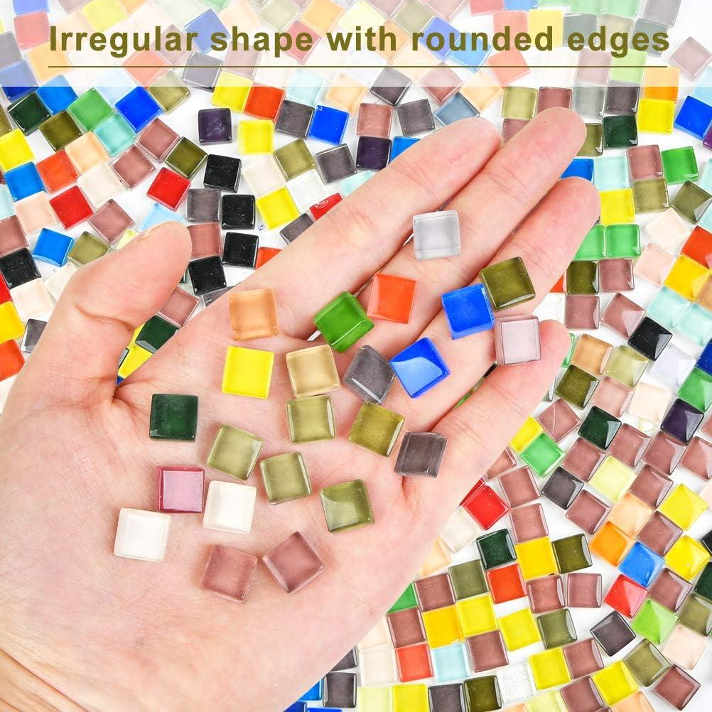 Aproximadamente 300 Piezas Forma Irregular Poligonal Colorida -500g Bricolaje Ideal para Trabajos de Mosaico Mosaico de Cristal CENBEN Piedras de Mosaico de Vidrio