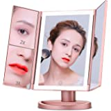 Vanity Makeup Mirror LED Lighted Tri-fold Makeup Mirror with Touch Screen and USB Charging, 2018 Newest 180 Degree Rotation Adjustable Stand Cosmetic Desk and Table-top, 1X/2X/3X Magnification