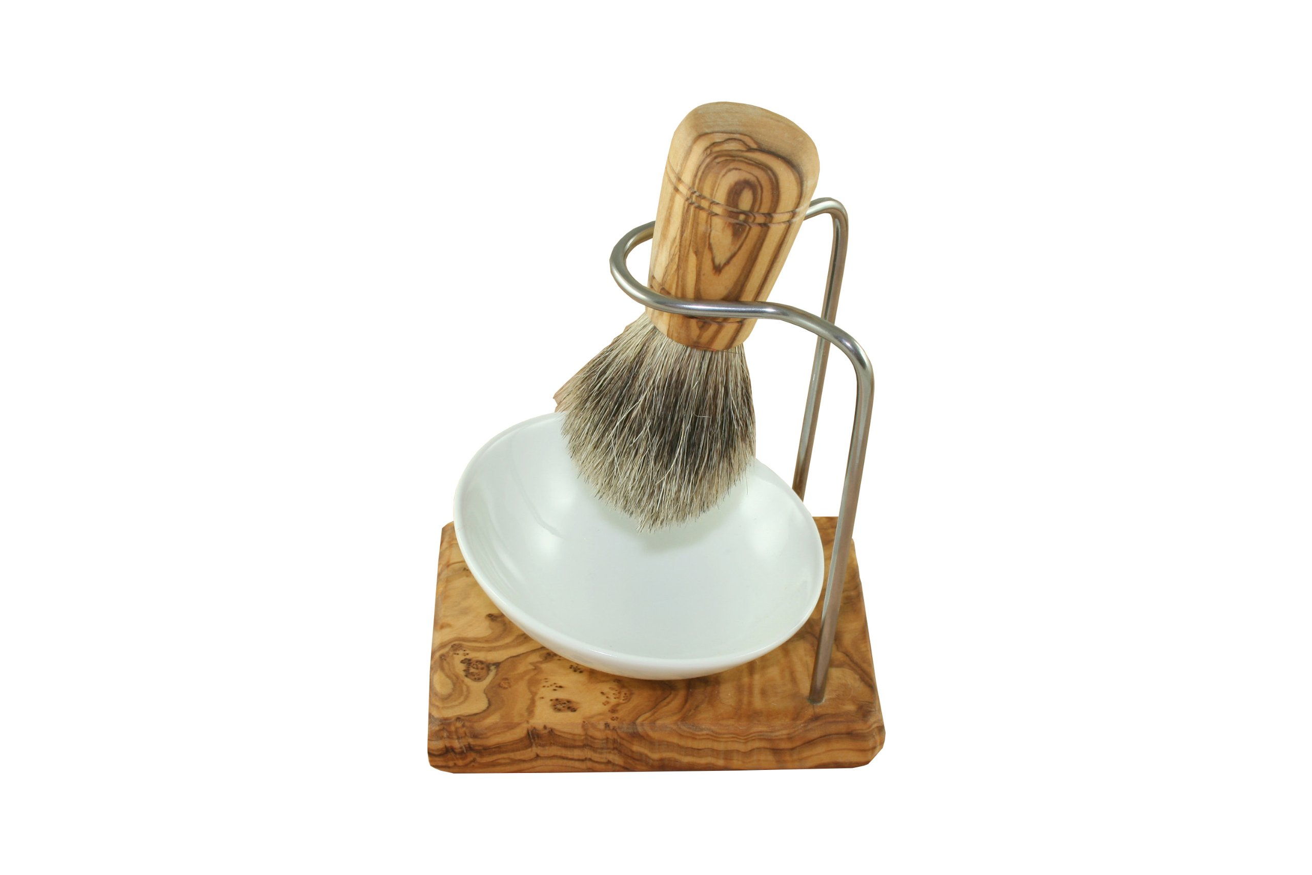 Shaving brush holder design made of olive wood with porcelain bowl Ø 10 cm and shaving brush grey badger hair