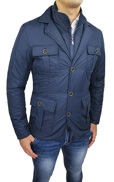 hot sale online 6d385 a6233 Giacca Giubbotto Uomo Blu Invernale Casual Elegante Piumino ...