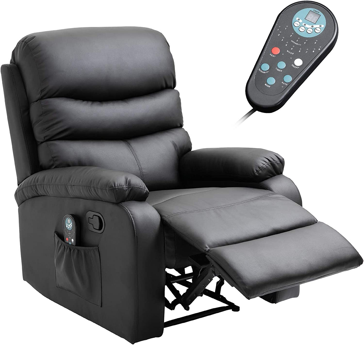 Homcom Manual Massage Recliner Chair With Heat And Remote Control 8 Massaging Points Pu Leather Black Furniture Decor Amazon Com