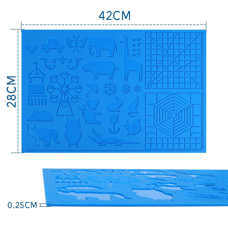 AMOLEN 3D Stift Silikonmatten 28 cm 3d Stifte Zubeh/örteil 42 Zeichenwerkzeuge mit niedlichen Tiermustern