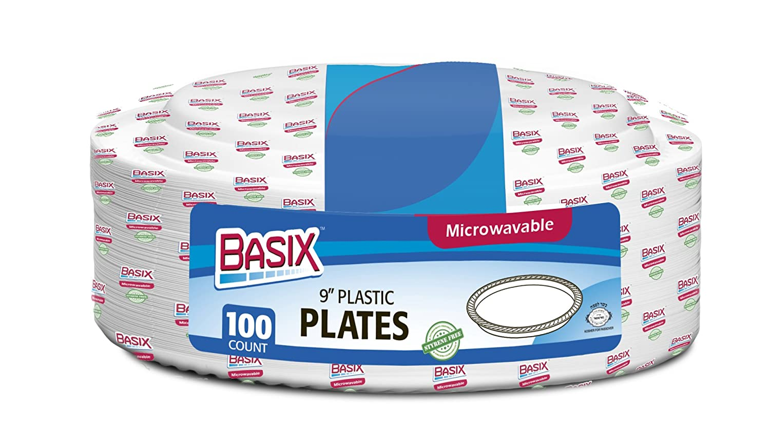 Amazon.com Basix 9 inch Plastic Plates Microwave Safe 100 Count White Kitchen \u0026 Dining  sc 1 st  Amazon.com & Amazon.com: Basix 9 inch Plastic Plates Microwave Safe 100 Count ...