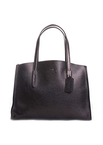 bfa863564 COACH Women's Metallic Leather Charlie Carryall Gunmetal/Metallic Graphite  One Size: Handbags: Amazon.com