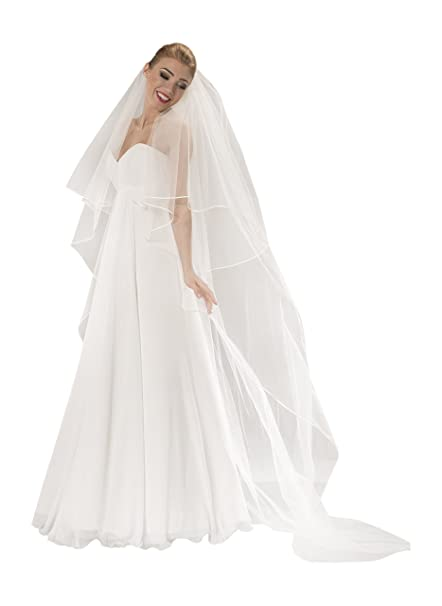 9dbf5af565f5 Velo da Sposa a Doppio Strato Stile Cattedrale con Lunghezza di 230cm   Amazon.it  Abbigliamento