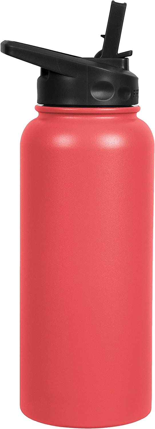 FIFTY/FIFTY Sport Water Bottle, Straw Cap with Wide Mouth, 34 oz/1 Large, Coral