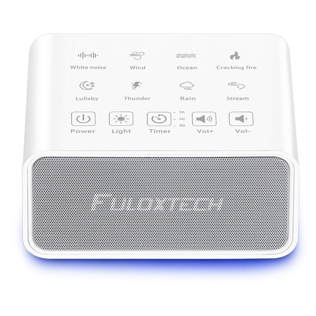 FULOXTECH White Noise Machine – 8 Natural Soothing Sounds Sleep Therapy Machine, Portable Sound Machine for Baby and Sleeping, Touch Screen 3 Timing Setting, Plug in or Battery Powered