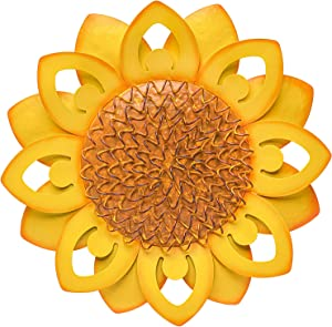 SONGXIN Metal Flower Wall Art Inspirational Fall Autumn Floral Wall Decor Home Accent Hanging Decoration for Office Living Room Patio Kitchen,Porch,Hallway, Garden(13 Inch Yellow Sunflower)