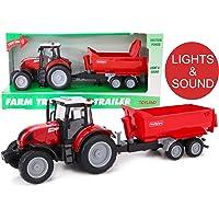 TOYLAND® Tractor Rojo de 38 cm y Remolque