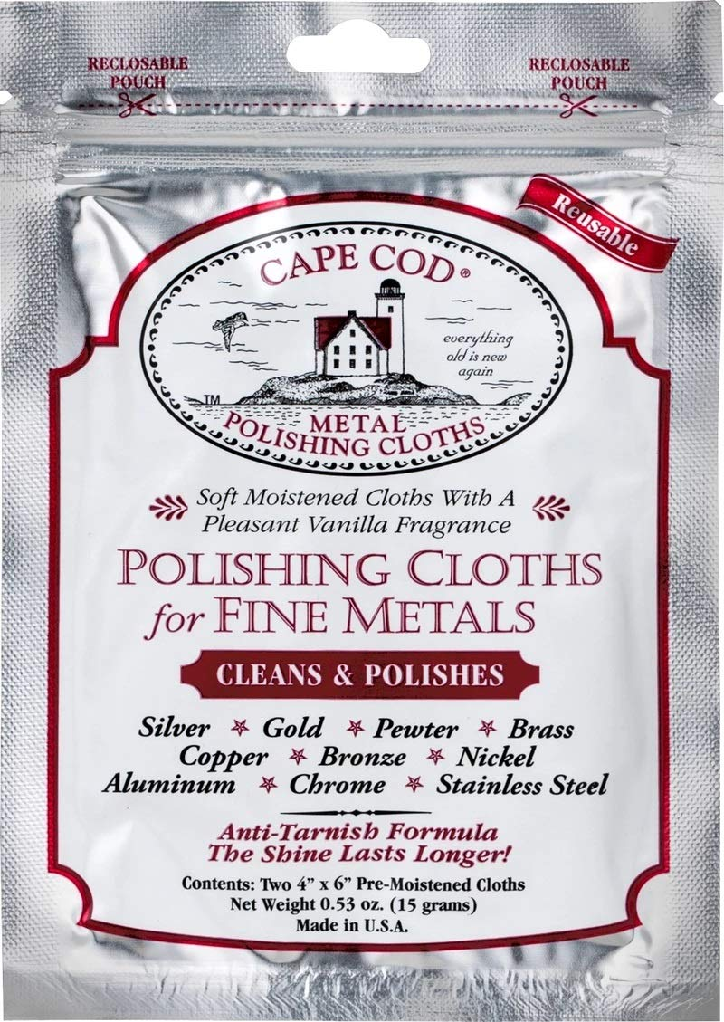 Cape Cod Polish Co Metal Polishing Cloths Foil Pouch 0.53oz, Stainless Steel
