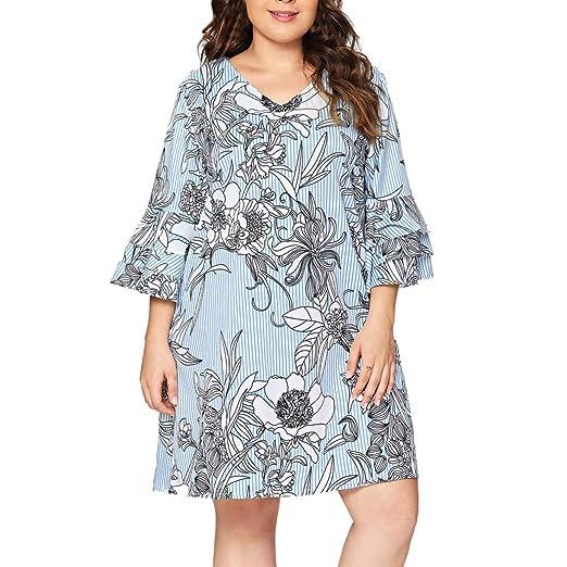 Women Novelty Long Sleeve Floral Dresses V Neck Boho Dresses Plus Size Flare Sleeve Party Dresses