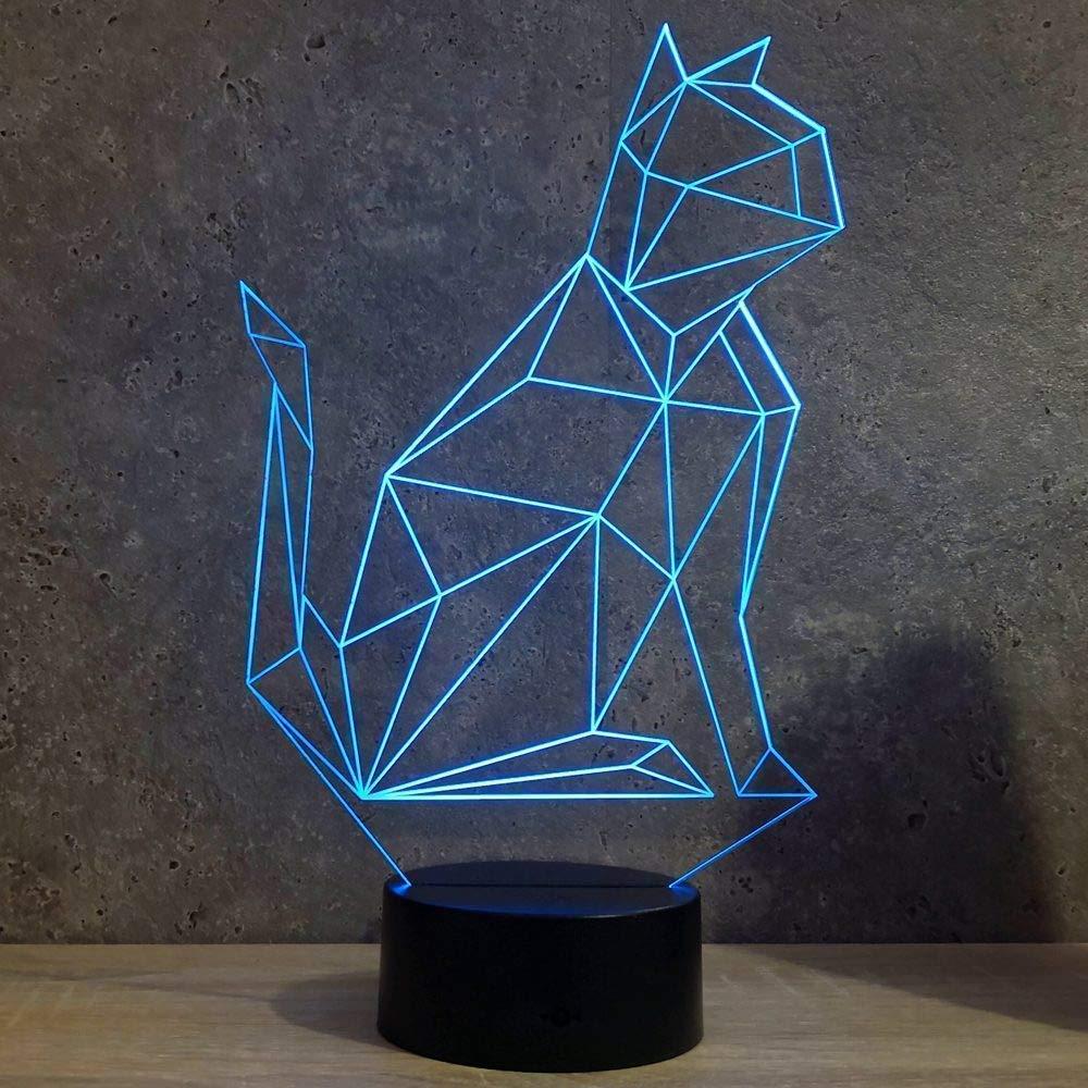 Lampe Chat Origami personnalisable 16 couleurs RGB /& t/él/écommande Lampe de table Lampe veilleuse Fabriqu/ée en France Lampe dambiance