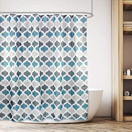 Cdcurtain Moroccan Geometric Striped Teal Blue And Grey Shower Curtain Set Damask Floral Decor Fabric