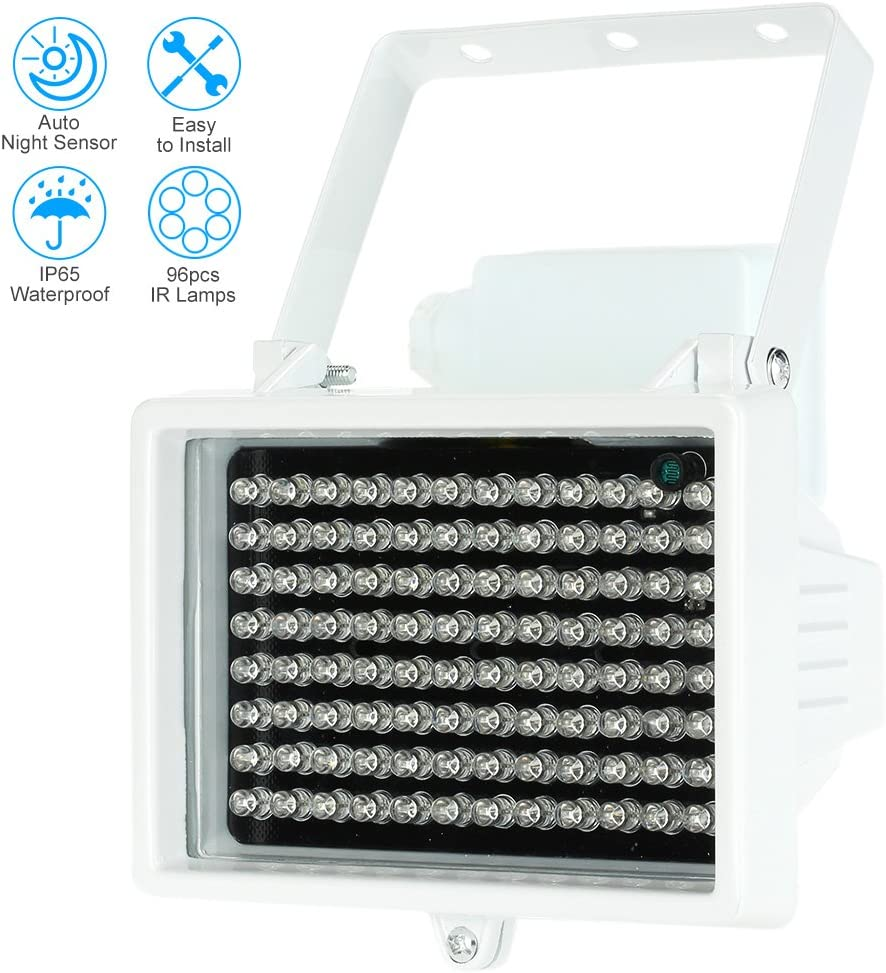 KKmoon IR Illuminator, 96 LEDs, Indoor/Outdoor Long Range 33-60ft, Night Vision, Waterproof for CCTV Security Camera