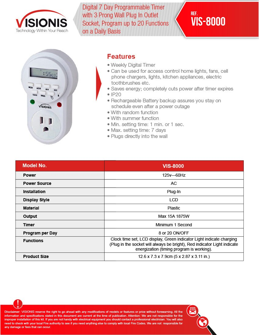 Visionis VIS-8000 Digital 7 Day Programmable Timer with 3 Prong Wall Plug for Access Control Home Lights and Other