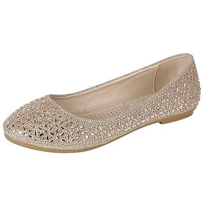 Cambridge Select Women's Closed Round Toe Slip-On Crystal Rhinestone Glitter Ballet Flat | Shoes
