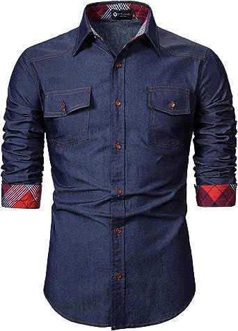 STTLZMC Denim Camisa Hombre Vaquera de Manga Larga Casual Shirts con Pecho Bolsillo: Amazon.es: Ropa y accesorios