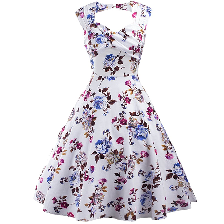 Nanafast Women 1950s Vintage Hepburn Lemon Print Swing Dress UK6-18i