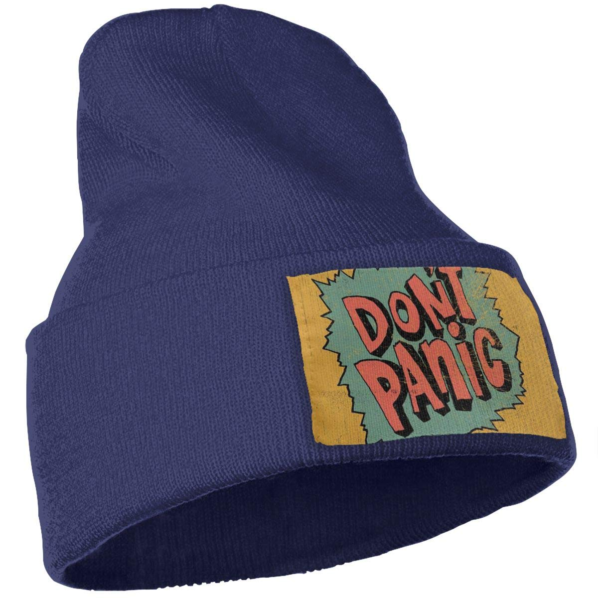 JimHappy Dont Panic Hat for Men and Women Winter Warm Hats Knit Slouchy Thick Skull Cap Black