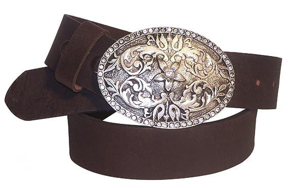 040ca52abe1eb5 Fronhofer echt Leder Gürtel | große Gürtelschnalle oval mit Strass |  florale Gürtelschließe | Damengürtel