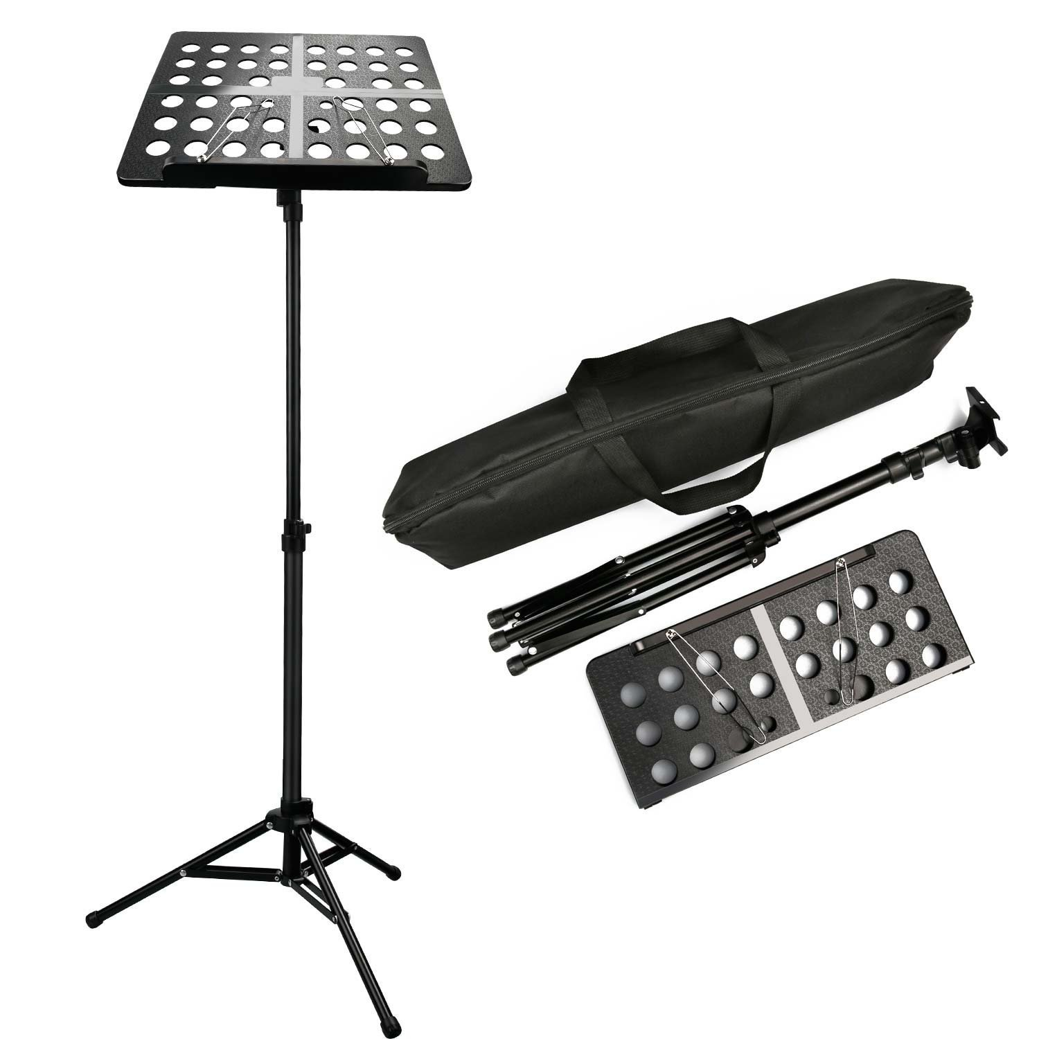 Afuaim Music Stand Folding Height-Adjustable Portable Small Orchestra Sheet Music Stand with Carrying Bag-Black (AMS-1)