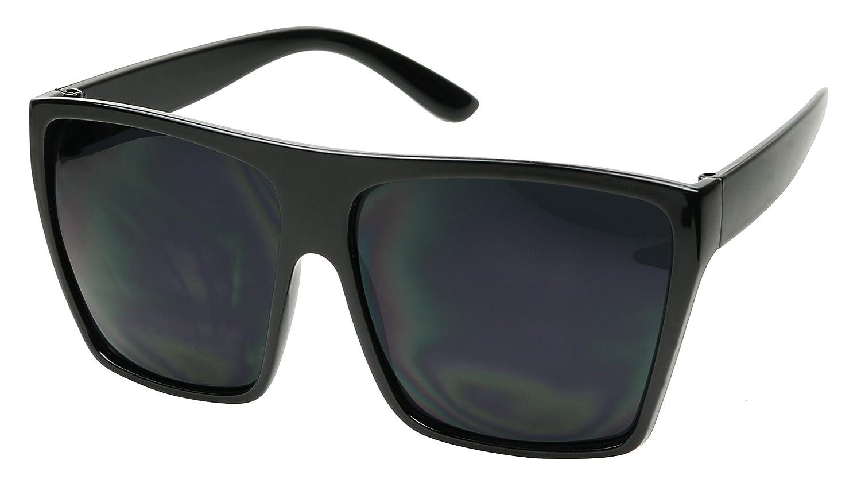bc659893a3c Shadyveu big large square trapezoid shape oversized fashion sunglasses  glossy matte super dark black clothing jpg