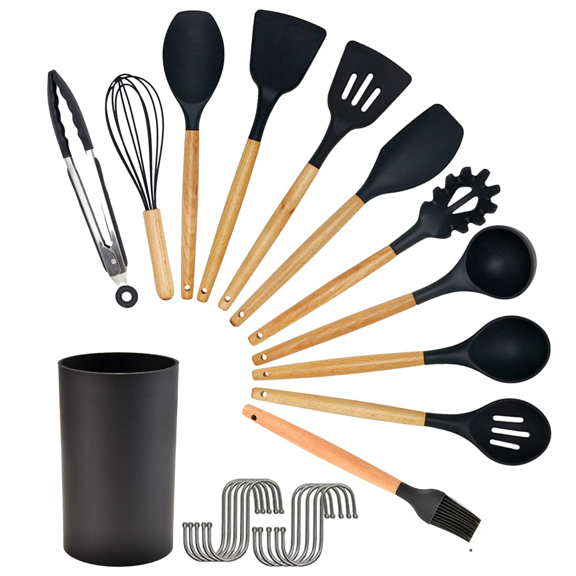 12pcs Silicone Cooking Kitchen Utensils Set with Holder Wooden Handles Kitchen Gadgets