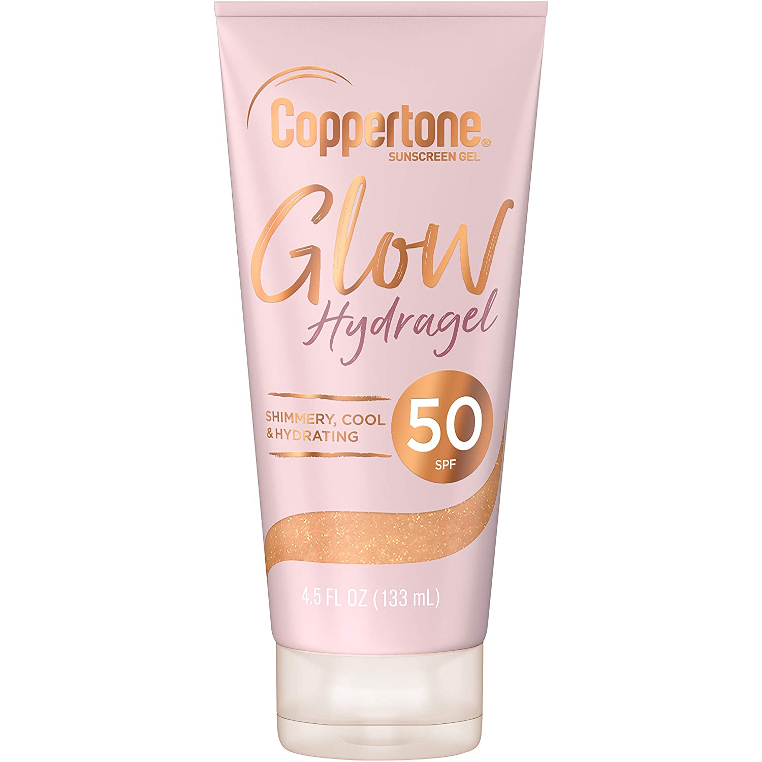 Coppertone Glow Hydragel SPF 50 Sunscreen Lotion with Shimmer, Broad Spectrum UVA/UVB Protection, Water-Resistant, Non-Greasy, Free of Parabens, PABA, Phthalates, Oxybenzone, 4.5 Fl Ounces