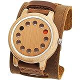 FunkyTop Orologio da uomo in legno di bambù 12 fori design giapponese movimento al quarzo orologio da polso