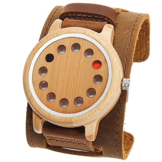 rtimer Hombre de bambú de madera Relojes 12 agujeros Diseño japonés de cuarzo reloj de pulsera: Amazon.es: Relojes