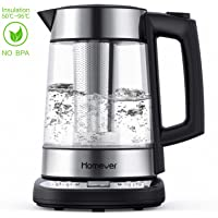 Homever Kettle, Electric Water Kettle, Tea Kettle, Thermostatic Kettle with Adjustable Temperature Electric Cordless Glass Kettle with Strainer 1.7L 2200W, Auto Shut-Off and Boil-Dry Protection