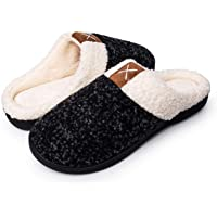 Apolter Men's Women's Memory Foam Slippers Comfort Wool-Like Plush Fleece Lined House Shoes for Indoor Outdoor
