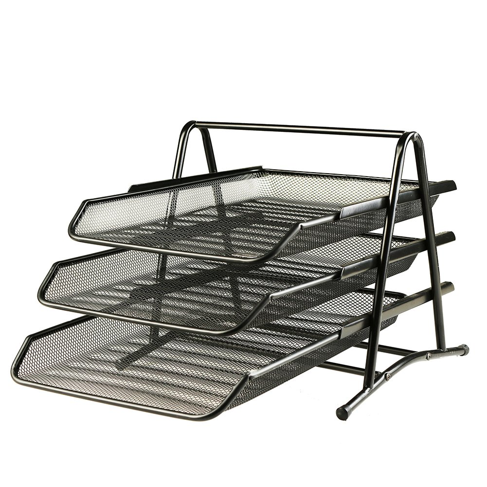 Xinyaoshi Desk Organizer, 3 Tier Letter Steel Mesh Tray Stackable, Document Office Supplies (Black)