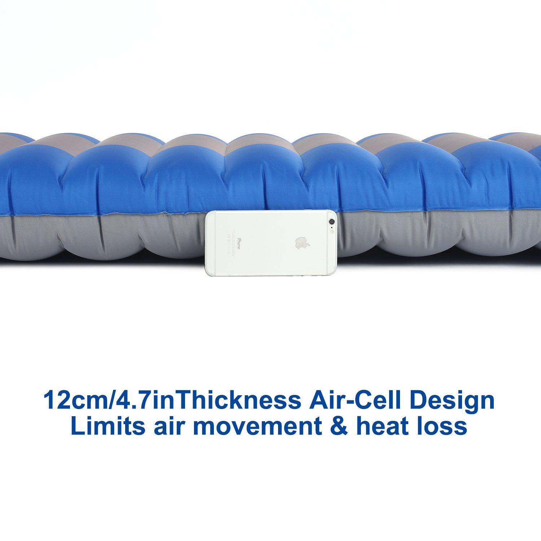 OUTAD Esterilla Inflable, Colchón de Aire Cama al Aire Libre para Cámping Portátil Ultraligero con solo Grosor 12 cm para Viajes/ Exterior/ Senderismo/ ...
