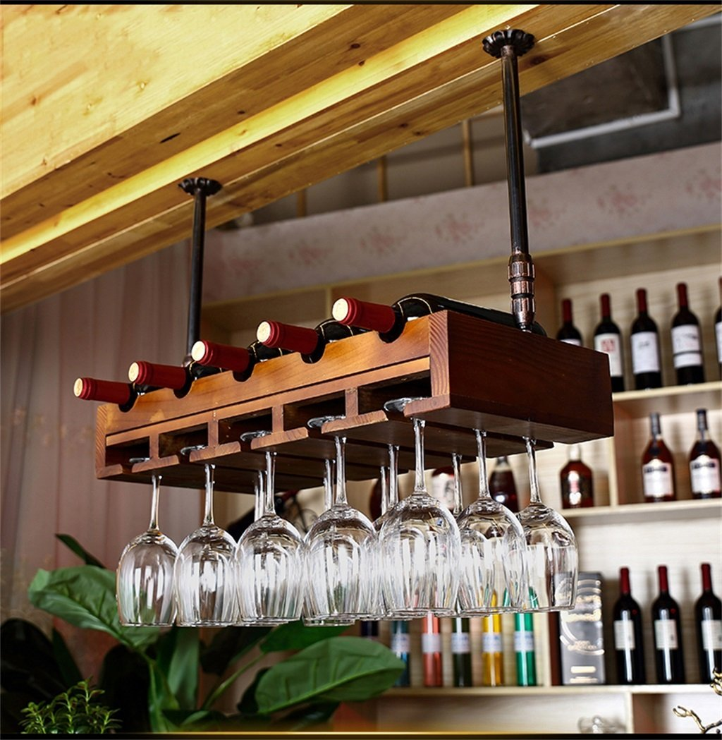 リビングルームベッドルームキッチンの棚 ハンギングマウント金属ワインラック、ヨーロッパのレトロソリッドウッドのワイングラスハンギングラック&ゴブレットホルダーキッチン/バー/レストランの棚 デコレーションラック B07GGYF435 ブラッククルミ色 ブラッククルミ色