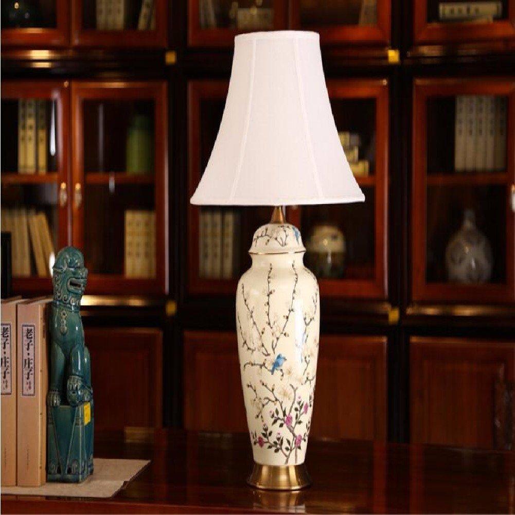 KHSKX Neue chinesische Tuch Keramik Lampe Nachttischlampe Schlafzimmer, keramische Wohnzimmerlampe, Hotel Lampen