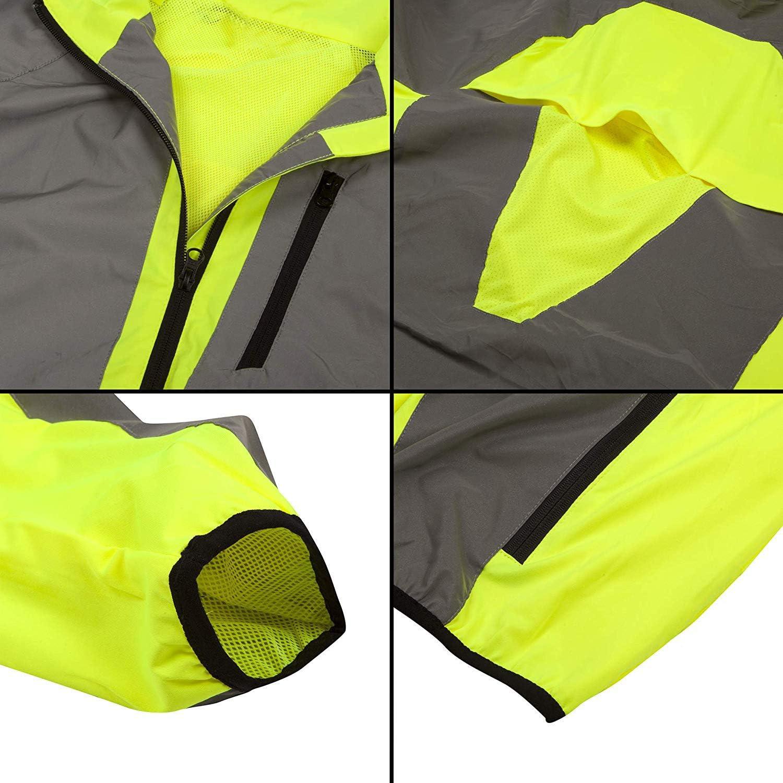 DFTD High Visibility (Hi Viz) Breathable Reflective Cycling Jacket & Running Sport Jacket Men Lightweight: Clothing