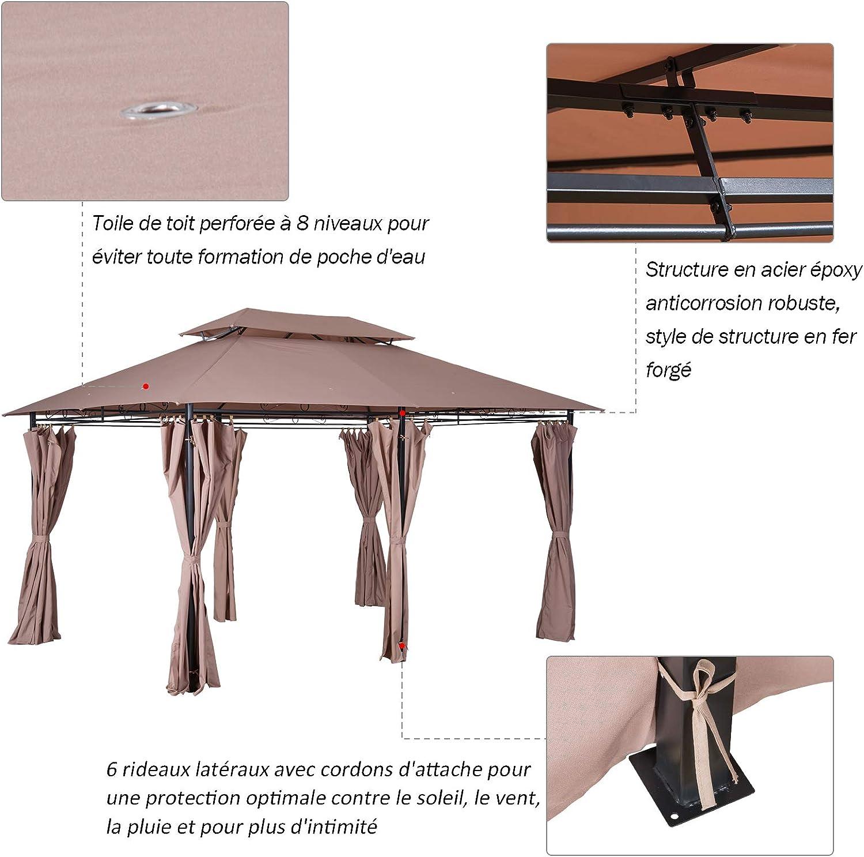 Outsunny - Cenador Barnum de jardín estilo colonial, doble techo ...