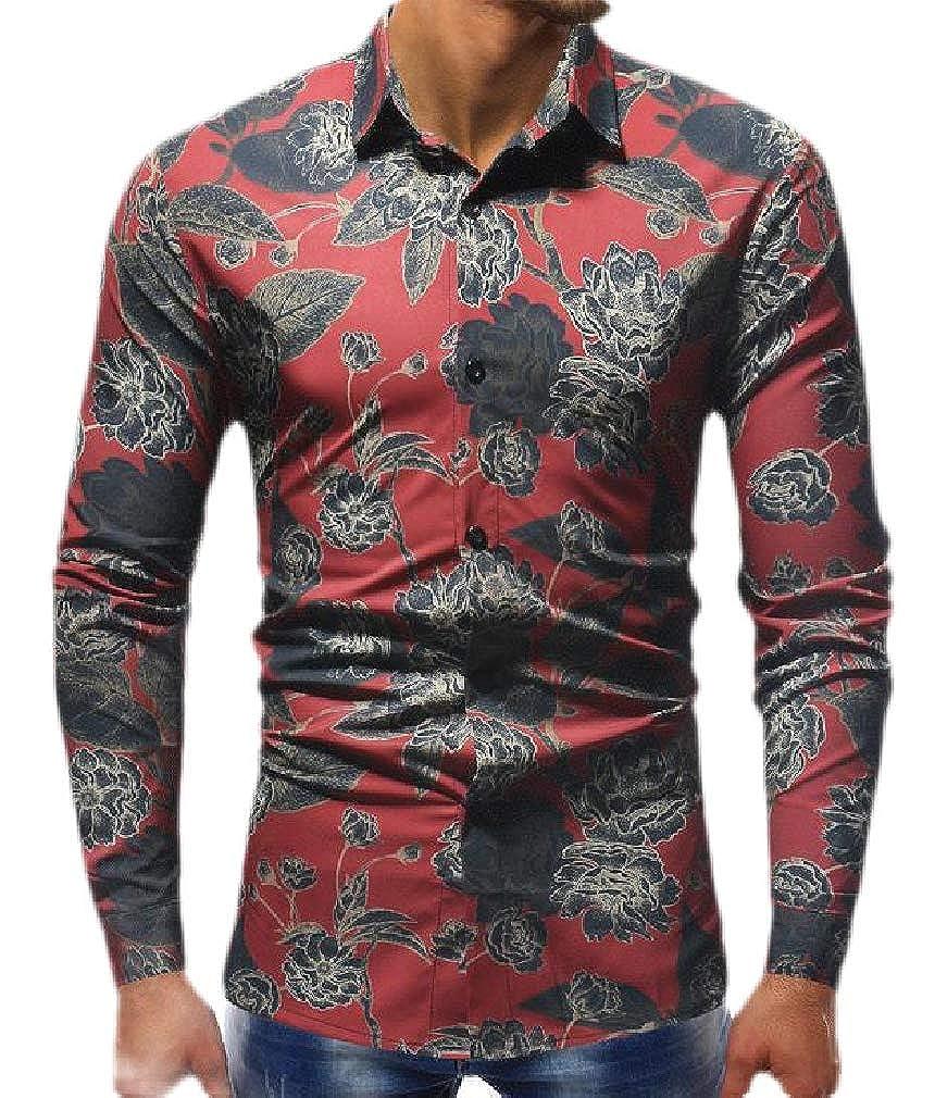 pipigo Mens Lapel Neck Casual Curved Hem Printed Button Down Shirts