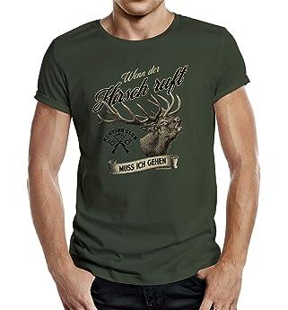 Shirtzshop - Camiseta para cazador, diseño con texto en alemán, Todo el año, Hombre, color verde oliva, tamaño M: Amazon.es: Ropa y accesorios