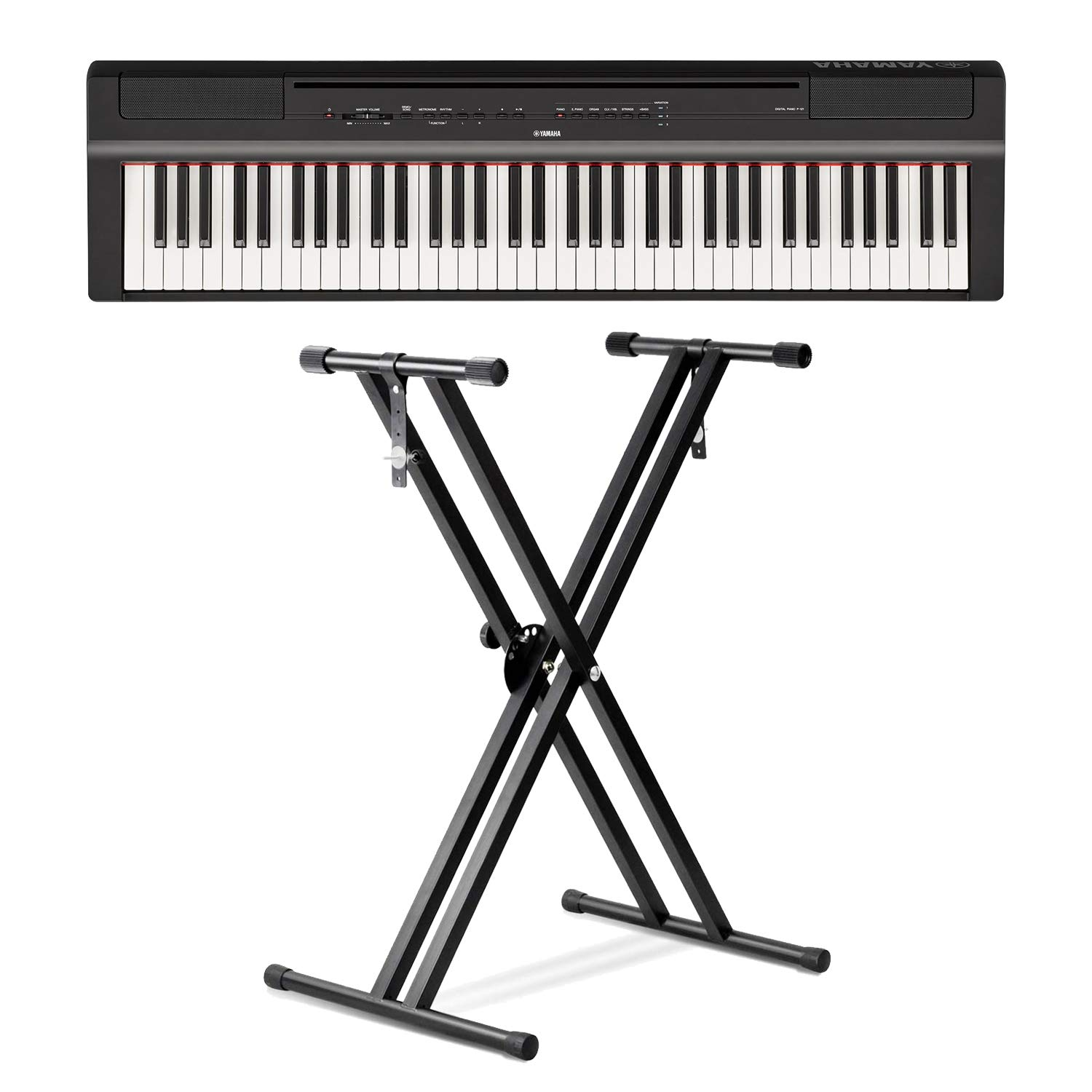 Yamaha P121B 73-Key Weighted Action Digital Piano with Front Row Piano Stand