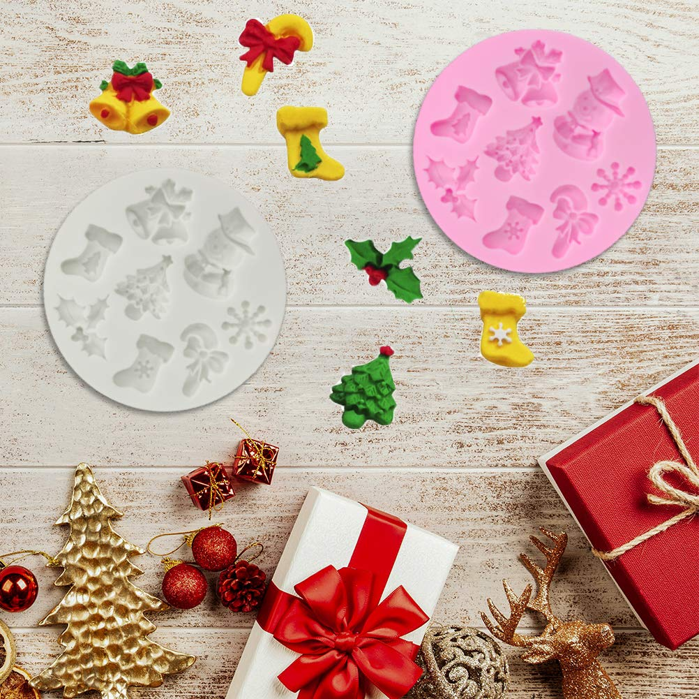 3 Pcs Fondant Silicone Molds ANIN 26 Cavity 3D Christmas Sugar Craft Cake Decoration Cupcake Topper Crafting Projects Gum Paste Resin Polymer Clay Mould