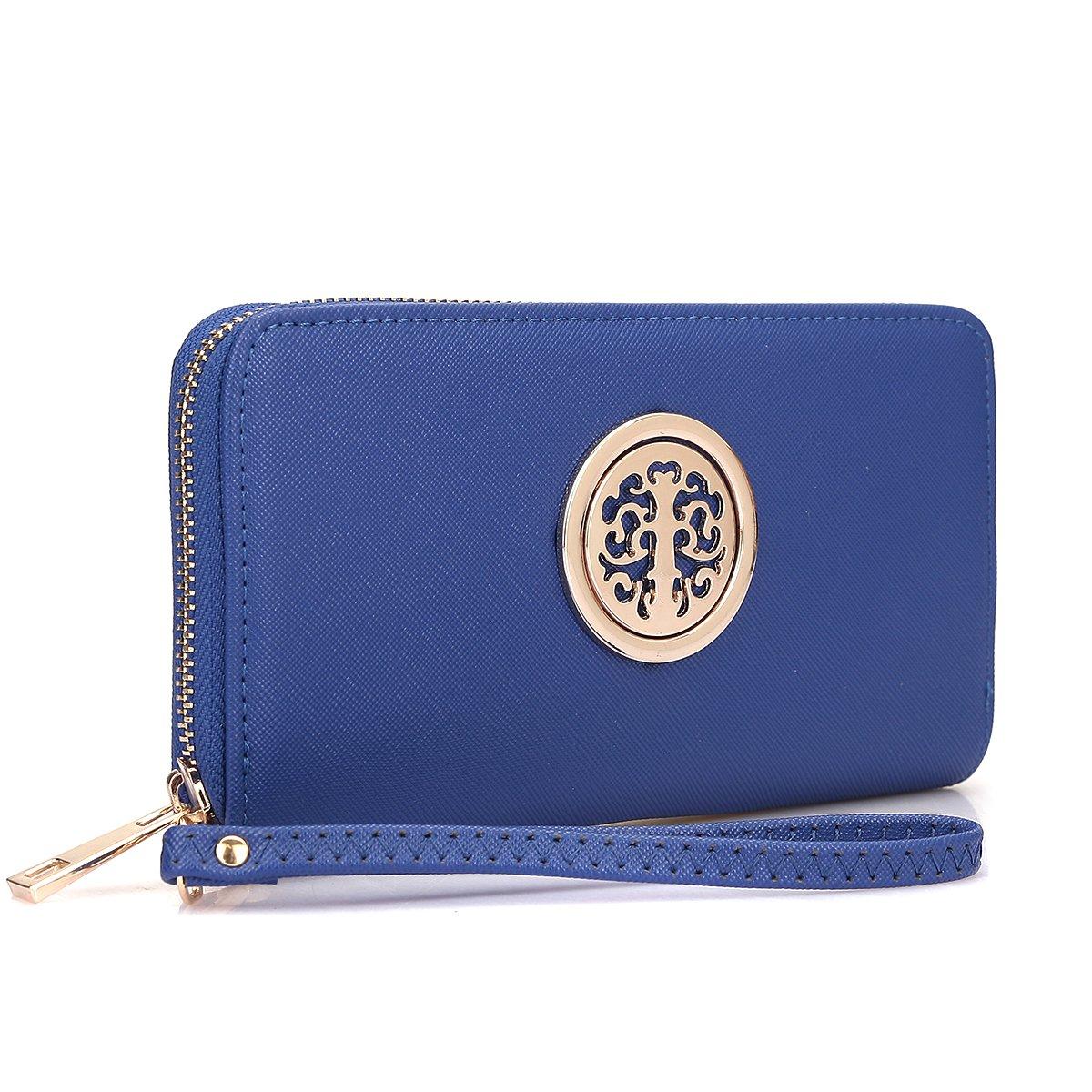 Women Long Wallet Lady Saffiano Leather Wristlet Purse Zipper Organizer Card Cellphone Holder Navy Blue