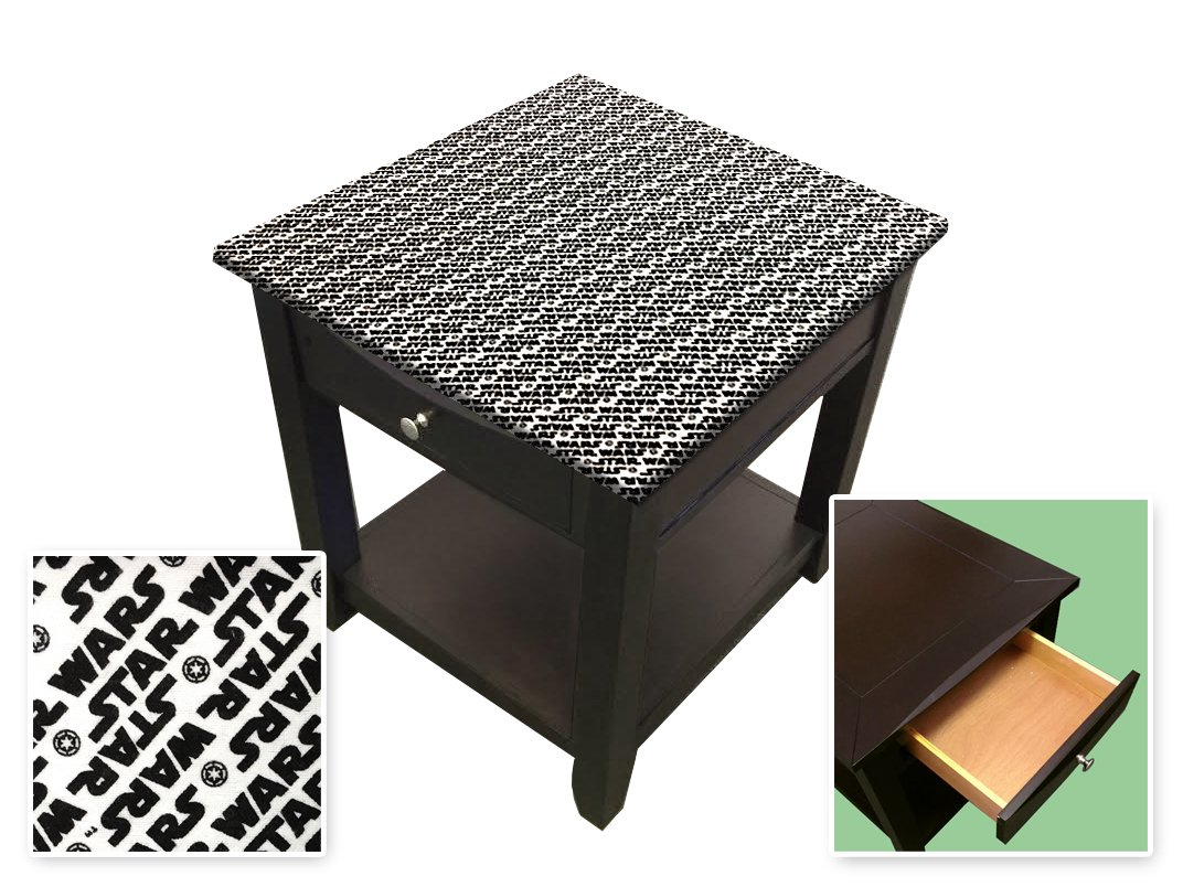 New Cappuccino / Espresso Finish End Table with Star Wars Theme