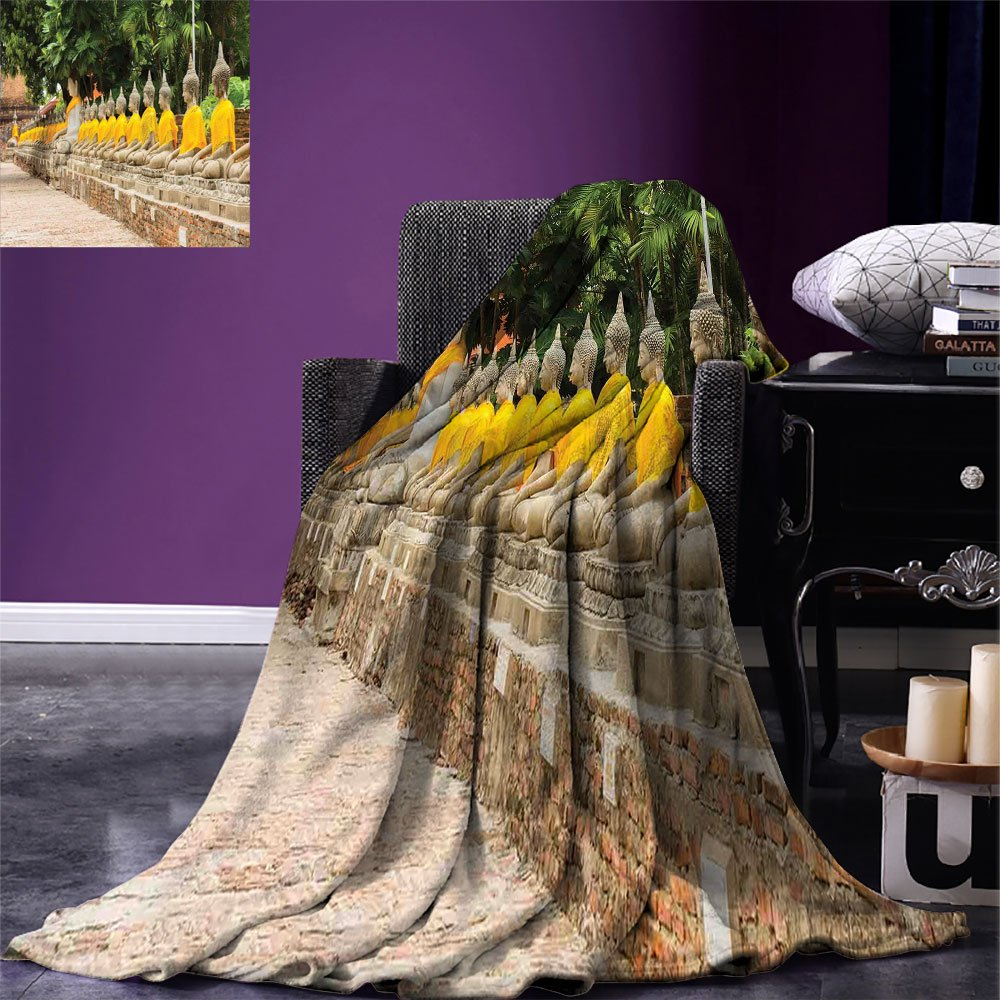 smallbeefly Asian Decor Digital Printing Blanket Picture of Religious Statues in Thailand Traditional Thai Home Decor Summer Quilt Comforter Cream Yellow Green