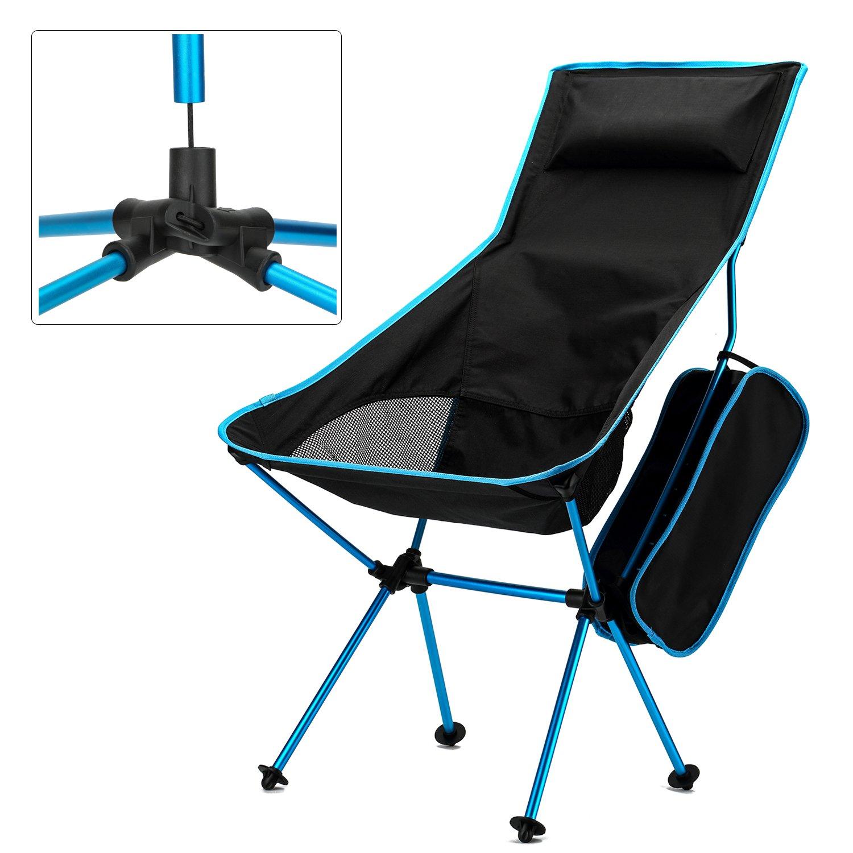 Yahill Ultralight折りたたみ可能なキャンプ椅子折りたたみコンパクトポータブルwith Carrying Bag forインドア家具とアウトドアビーチピクニックハイキング旅行狩猟釣りDirector working B01I2QOA04 Blue&Black Blue&Black