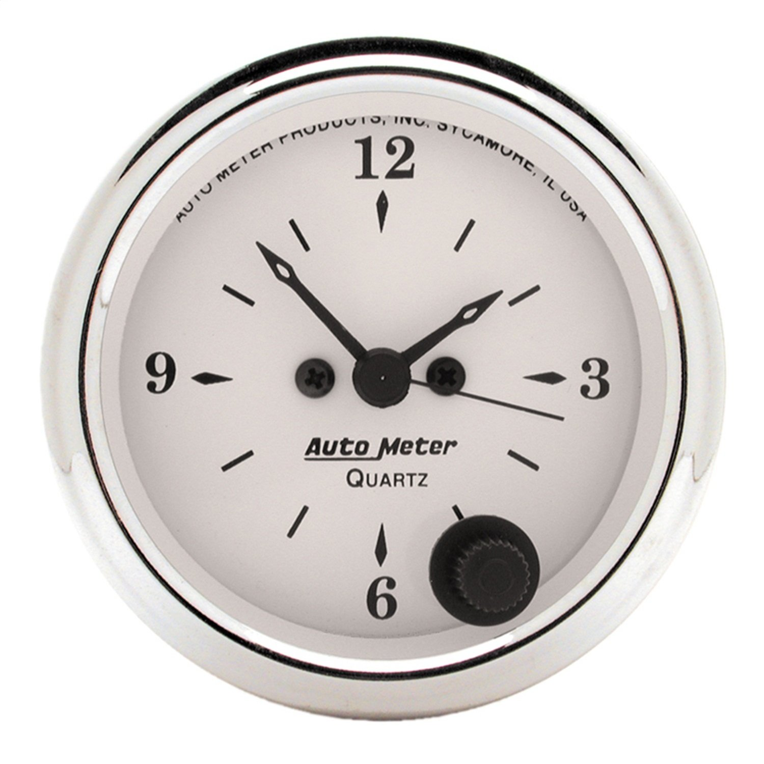 Auto Meter 1686 Old Tyme White 2-1/16' 12V Short Sweep Quartz Movement Electric Clock with Second Hand